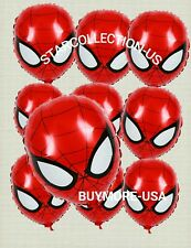 """10 PC SPIDERMAN BALLOONS BIRTHDAY PARTY FACE SHAPE DECORATIONS CENTER PIECES 18"""""""