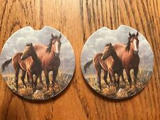 """PAIR OF NEW """" HORSES ROAMING ON THE RANGE """" STYLE ABSORBENT STONE CAR COASTERS"""
