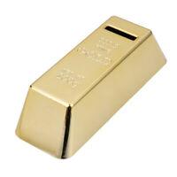 #QZO Gold Bullion Bar Piggy Bank Brick Coin Bank Saving Money Box