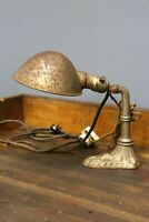 Vintage Antique Industrial Desk Lamp Light OC White Era Ornate Cast Iron Base