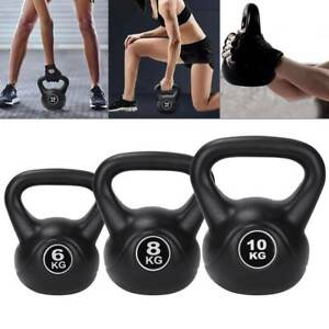 Vinyl Kettlebell Strength Weight Fitness Home Gym Workouts Kettlebells 6-10kg
