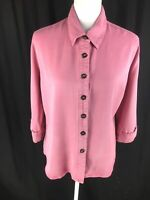 Pulp Womens Tencel Button Blouse Size M Medium Pink 3/4 Roll Sleeve Euc