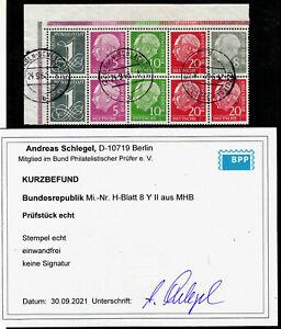 A2) Bund Heuss H- Blatt 8YII Eckrand EOL aus MHB 5 gest. Befund e&e Schlegel BPP