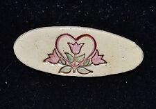 """UNBRANDED - CERAMIC PINK TULIP & HEART BROOCH PIN - 1"""" X 2 1/2"""""""