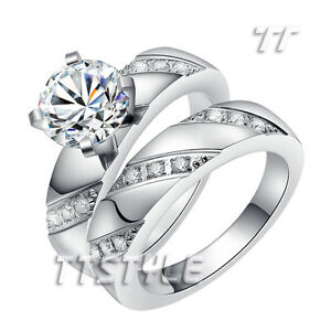 TT Polished Stainless Steel 2 Ct Engagement Wedding Band Ring Set R306307S