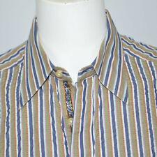 ROBERT GRAHAM Classic Fit Green Stripe Textured Cotton Casual Shirt Sz XL