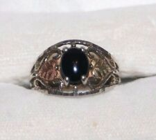 Black Hills Sterling Silver Coleman Onyx Gold Ring 12K & .925 Size 6