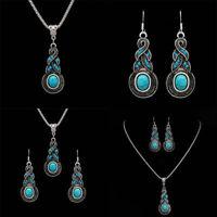 Tibetan Silver Blue Turquoise Chain Pendant Necklace+Earrings Jewelry Set-U X7E3