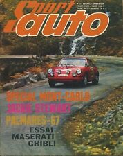 SPORT AUTO n°72 01/1968 MONTE CARLO MASERATI GHIBLI CD PEUGEOT  AVEC ENCART