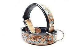 Small Blue Custom Tooled Bully MadcoW Dog Collar Western Floral Style Leather