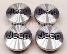 (SET OF 4) 1987-2010 Jeep Brushed Aluminum Black JEEP Logo Center Caps TJ XJ