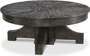 COCKTAIL TABLE WOODBRIDGE SLATE GRAY ROUND SOLID OAK WOOD UNUSUAL BASE
