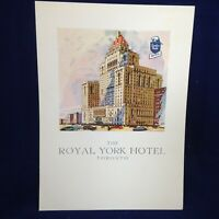 THE ROYAL YORK HOTEL TORONTO Restaurant Menu Vintage