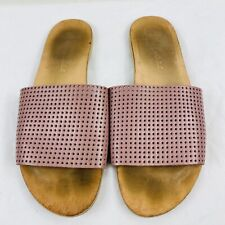Matisse Size 8 Pink Playa Perforated Slip On Sandals Slides Open Toe Leather