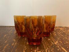 Vintage Amber Glass 8 Ounce Old Fashion Tumbler Sloped Sides Set of 6 G