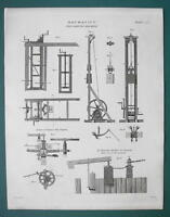 MECHANICS Pile Driving Machines Construction - 1820 ABRAHAM REES Print