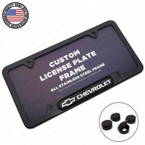 Black Stainless Steel Front Rear For Chevrolet License Plate Frame Cover Gift