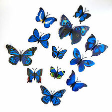 12 Various Blues & Different Size Butterflies 3D WallArt