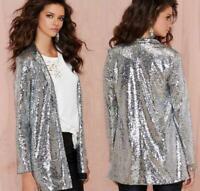 Womens Blazer Coat Long Sleeve Glitter Shinny Sequins Punk Rock Nightclub Jacket