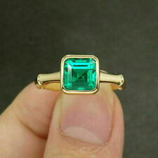 2.14Ct Asscher Cut Green Emerald Solitaire Engagement Ring 14K Yellow Gold Over