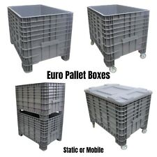 More details for new strong plastic euro pallet storage box boxes 1200x800x800mm static or mobile