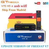 GTMEDIA DVB S2 V7S+Wifi Satellite Receiver Digital Full HD 1080p Bisskey Youtube