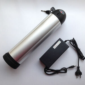 48V 10ah Li-ion Rechargeable Ebike Battery W/ Water Bottle Case & Charger