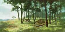 The Edge by Carol Gibson Sayle Landscape Buck Doe Fawn Deer Trees Country S/N