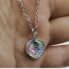 Iridescent Mermaid Scales Charm Necklace Fairy Tale Necklaces Chic Gift Random