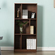 Brown Open Shelf Bookcase Bookshelf 3 Tier 6 Cube Home Storage Shelves Closet