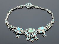 Rare Antique c1900 English Untreated Turquoise Silver necklace, 40.9g