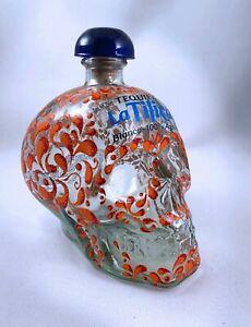 La Tilica Blanco Tequila SKULL SHAPED 750ML Empty Bottle Beautiful Pattern