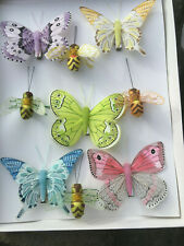 Feather Butterflies & Bees -Natural Authentic Clip On Decoration - Set of 9