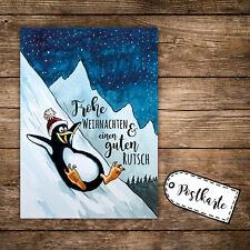 A6 Postkarte Print Karte Pinguin Winter mit Spruch Magische Weihnachten pk140