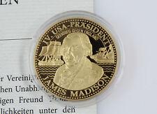 Gedenkprägung Präsidenten der USA James Madison Silber 999 veredelt PP