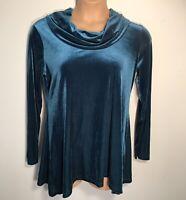 Jones New York womens velvet tunic teal blue cowl neck size L