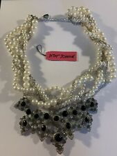 Betsey Johnson MULTI-Rhinestone multilayer pearl Charm necklace-BJ85001