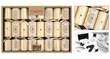 8 Premium Christmas Crackers, Gold & Cream Design - RSW