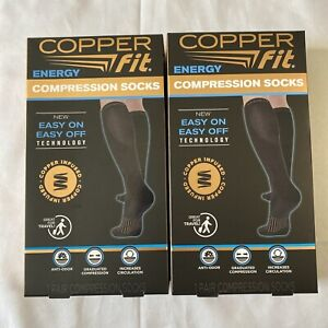 2 PACK Copper Fit Energy Compression Socks (Small/Medium) UNISEX - Open Box
