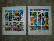 Marvel & DC Comics Super Heroes (2) 20 Stamp Cancellations Sets