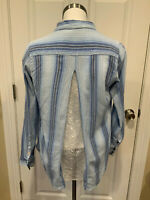 Isabella Sinclair Anthropologie Blue Striped Button Down Shirt W/ Lace, Size S