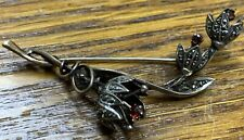 Original Victorian 835 Silver Marcasite Natural Garnet Lily Of Valley Pin Brooch