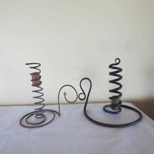 Lot 2 Vintage Antique Primitive Wrought Iron Wire  Coil Courting Candle Holders