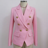 New Women's Fashion Pink Luxury Designer Inspired Fitted Blazer Buttons Coats