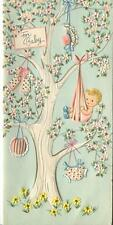 VINTAGE NEW BABY TREE SWING PINK BLOSSOMS GARDEN FLOWERS DAISIES CARD ART PRINT