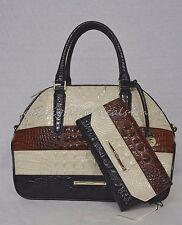 SET Brahmin Triton Collection Hudson Striped Satchel & Checkbook Wallet in Cava