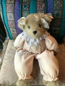 The Bearington Collection Musical Baby Pink Velour Teddy Bear Heather