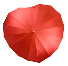 SOAKE Red Heart Boutique Umbrella 16 Ribbed Large Soft Handle Women Unisex