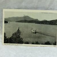 Vintage Photo Postcard Steamer Doris Scene Lake Placid New York Unused 1937