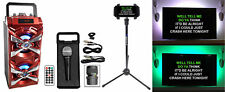 NYC Acoustics Bluetooth Karaoke Machine System wActive+TV LED's+Mic+Remote+Stand